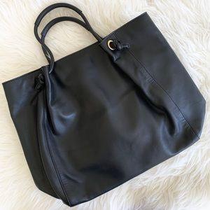 Barney's New York Large Black Leather Handbag Tote
